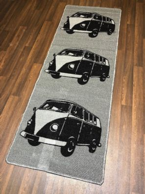 NEW NON SLIP TOP QUALITY RUNNER 66X185CM APROX 6FTX2FT3 CAMPER DESIGN BLACK/GREY